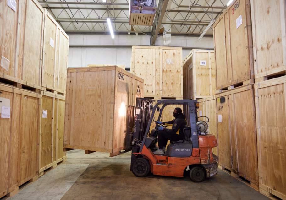 forklift with storage units